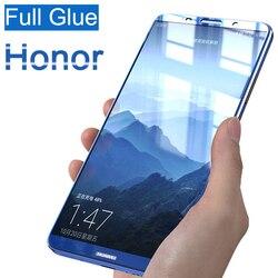 3D pełna hartowana obudowa szklana dla Huawei Honor 10 9 8 Lite klej na całości ekranu ochraniacz huawey honer 8lite 9lite 10lite światło 9h