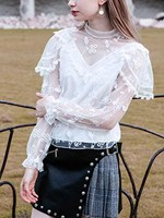 Women Fall New High Neck Embroidery Mesh Panel Blouse Fashion Sheer Lace Long Sleeve Shirts