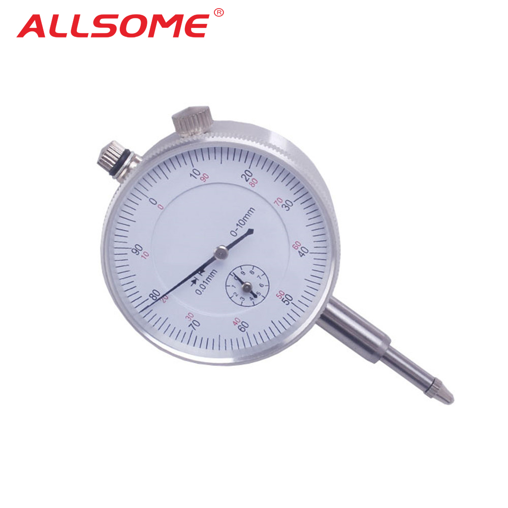 ALLSOME 10/0.01mm Micrometer Measurement Instrument Round Dial Indicator Gauge Vertical Contact Digital Mikrometer HT1605