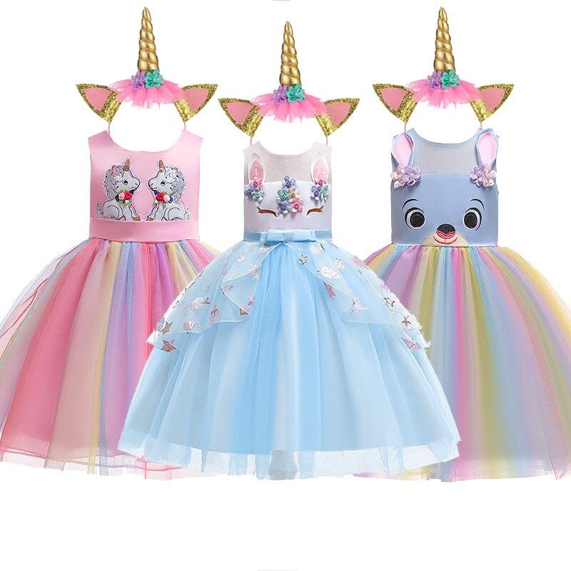 2019 Summer Kids Dresses For Girls Easter Unicorn Party Princess Dress Girls Dress Unicorn Carnival Costume Kid Unicorn Dresses in Dresses from Mother Kids