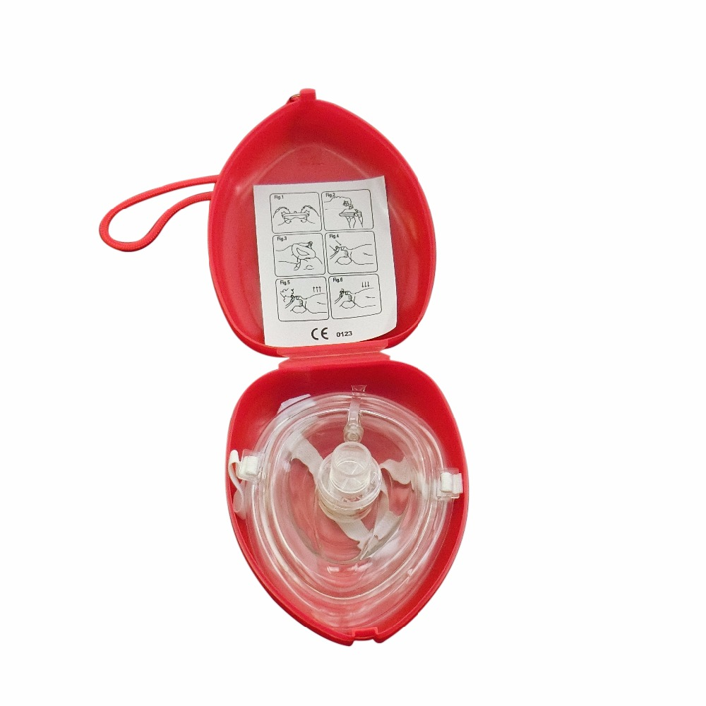 60pcs/Pack First Aid CPR Rescue Face Shield Mask Face Shield Oxygen Inlet In Red Box