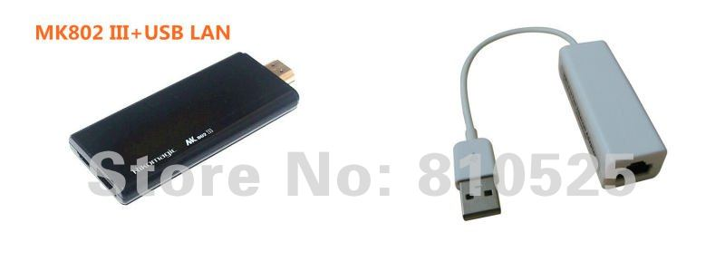 Rikomagic MK802III Dual Core Mini Android 4.2 PC RK3066 1.6Ghz Cortex A9 1GB RAM 8G ROM HDMI [MK802III+USB LAN]