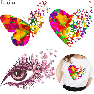 Prajna Iron On Transfer Vinyl Heat Transfer Patches For Clothes Stripes Butterfly PVC Patches Stickers On Clothes DIY Applique(China)