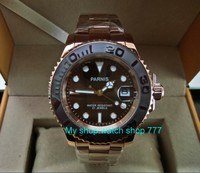 41MM PARNIS Japanese Automatic Self Wind Movement Ceramic Bezel Sapphire Crystal Luminous Rose Gold Case Men