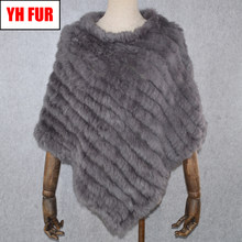 2019 Hot Sale Women Real Rabbit Fur Shawl Natural Real Knitted Real Rabbit Fur Poncho Scarf Autumn Winter Rabbit Fur Pashmina(China)