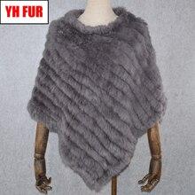 2019 Hot Sale Women Real Rabbit Fur Shawl Natural Real Knitt