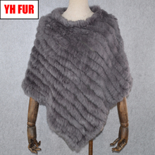 2020 Hot Sale Women Real Rabbit Fur Shawl Natural Real Knitted Real Rabbit Fur Poncho Scarf Autumn Winter Rabbit Fur Pashmina