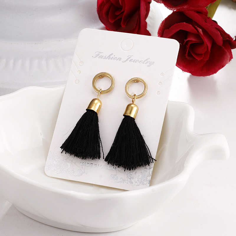 E0102 Bohemia Style Tassel Earrings For Women Ethnic Black Fringe Drop Earrings Statement Ear Jewelry Exquisite Gift Wholesale