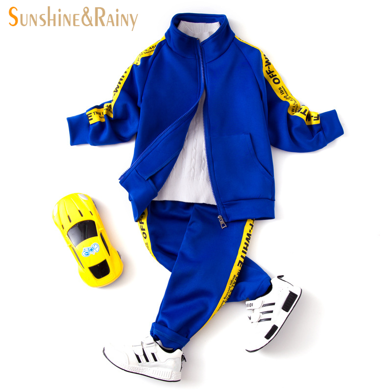 Sunshine & Rainy Kids Sports Suit For A Boy Jogging Tracksuits Baby Boys Jackets+Pants Sets Spring Autumn Children Clothing Set 2017 autumn kids children training jogging suit football kits jerseys suits girls sweatshirt pants floral casual tracksuits