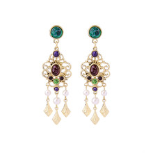 3 Types Patterned Imitation Gemstone Chandelier Earrings for Women Piercing Bohemian Earrings Costume Jewelry(China)