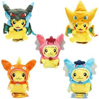 Gyarados Cosplay Pikachu dos desenhos animados Peluche Mega Charizard Algodão Bichos de pelúcia Bonecas Crianças Brinquedos De Pelúcia Presentes de Natal para Crianças