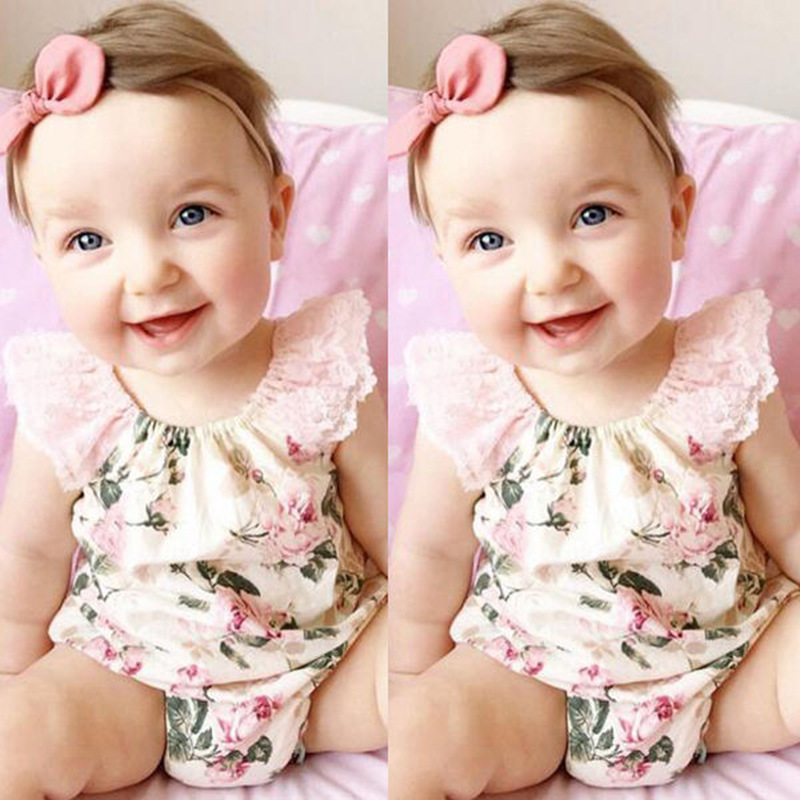 2017 baby girl rompers flower print lace girls clothes summer cotton kids romper newborn infant clothing bebe overall clothes cotton baby rompers infant toddler jumpsuit lace collar short sleeve baby girl clothing newborn bebe overall clothes