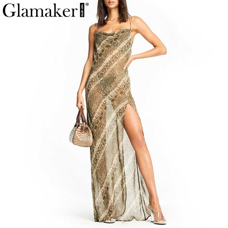 Glamaker Backless Dress ... Glamaker snake print transparent sexy maxi dress Women backless split  loose beach sundress Elegant female sleeveless ...
