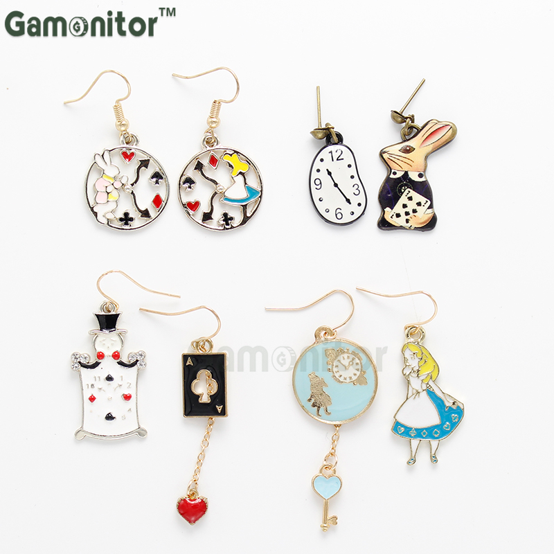 4 style Choose Women Gifts Gift Rabbit Clock Poker Party Cartoon Icon Earrings Alice in Wonderland