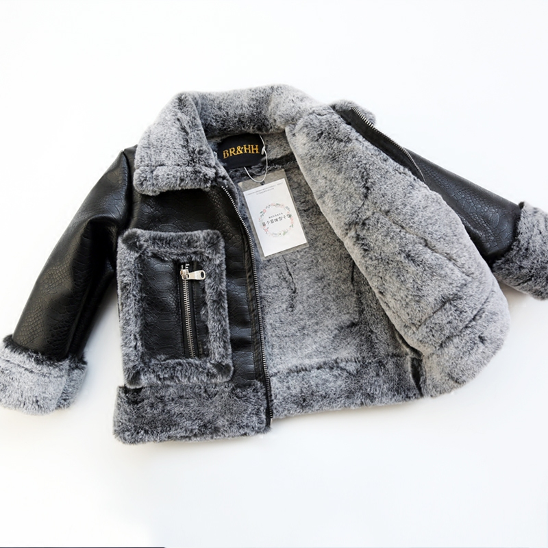 Childrens Unisex Faux Fur Jackets 2019 Autumn and Winter Boys and Girls Faux Leather Coats Kids Patchwork Faux Fur OuterwearChildrens Unisex Faux Fur Jackets 2019 Autumn and Winter Boys and Girls Faux Leather Coats Kids Patchwork Faux Fur Outerwear