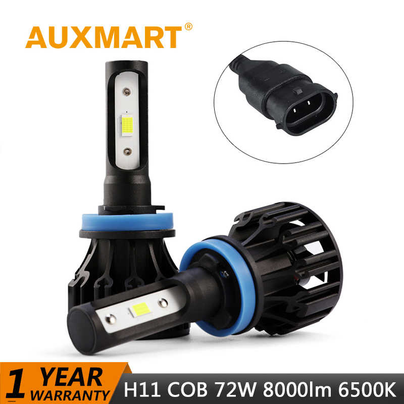 Auxmart Car Light H11 LED Headlight Bulb kit COB Combo 72W 8000lm 6500K LED Lamp Auto Headlamp LED H11 Bulbs Light 12v 24v H 11