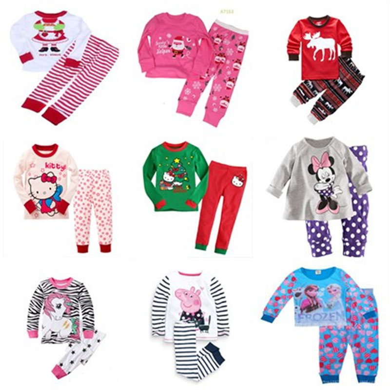 2017 Girls Pijama Christmas Pajamas Pijama Infantil Kids Girl Pyjama Enfant Sets Children Pijamas Todder Sleepwear Santa Kitty