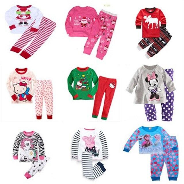 2017 niñas Pijamas Pijama de Navidad pijama infantil niños niña ...