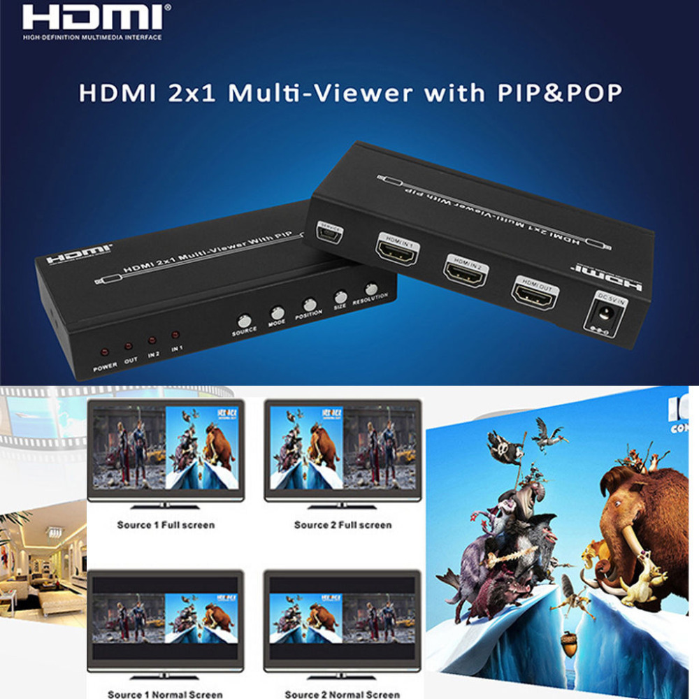 HDMI 2X1 Seamless Switch Picture Division PIP POP Multi Viewer HDS-821P 2 Port Converter 4 Mode HDMI All Show One HDTV Display full 1080p hdmi 4x1 multi viewer with hdmi switcher perfect quad screen real time drop shipping 1108
