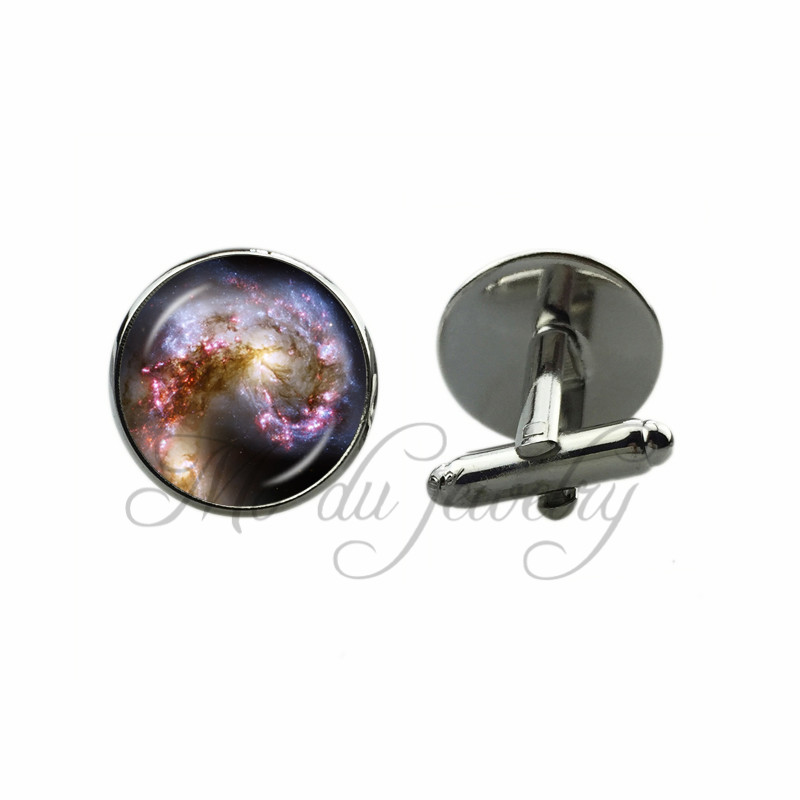 Nebula Space Cufflinks Spiral Galaxy Cuff Button Geek Science Cuff-Link Jewelry Hubble Image Astronomy Wonderful Friend Gifts image