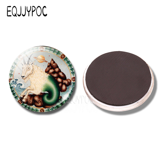 Zodiac sign capricorn refrigerator magnet cartoon cute constellations 30 mm glass dome round magnetic stickers for