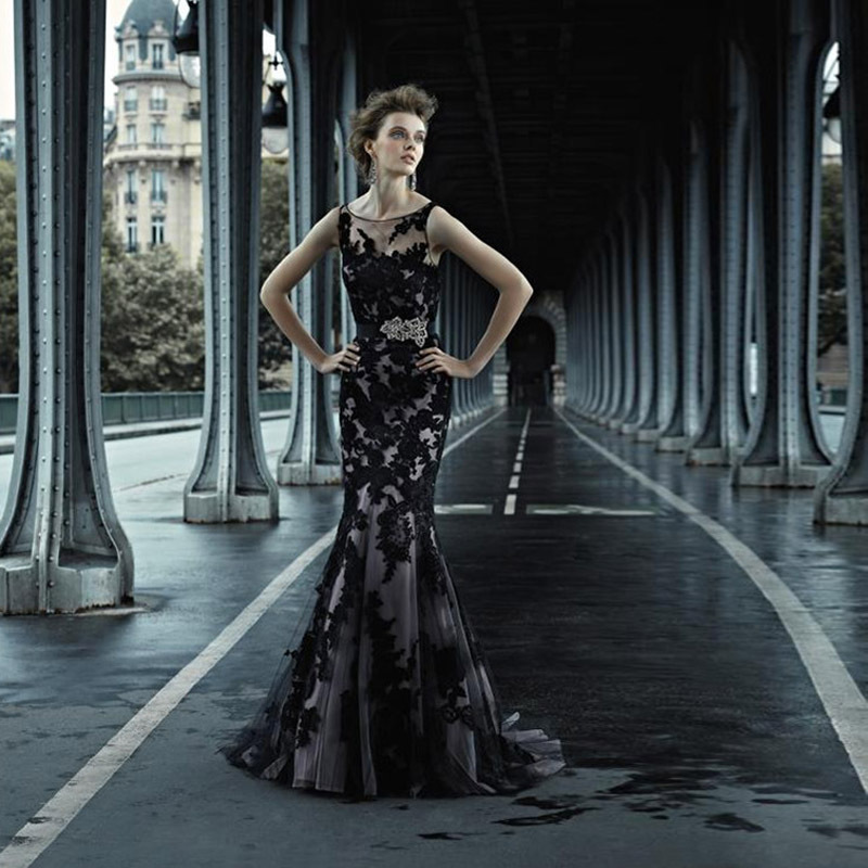 elegant mermaid black wedding dresses 2015 vintage lace wedding dress robe de mariage 2015 bridal gown