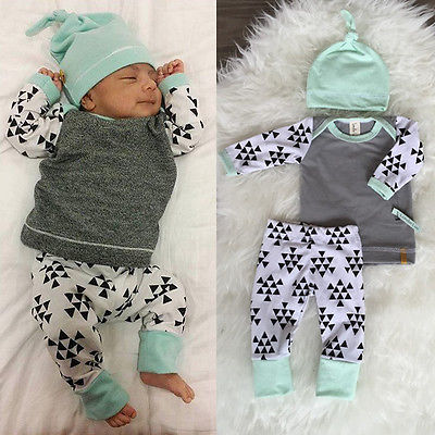 Printed Geometric Baby Boy Girl Clothes Sets Kids Newborn Infant Long Sleeve T Shirt Tops + Pants with Hat Baby Clothing Set infant baby boy girl 2pcs clothes set kids short sleeve you serious clark letters romper tops car print pants 2pcs outfit set