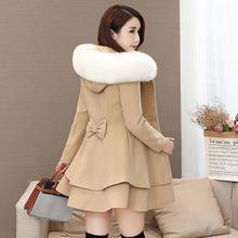 Осень Зима Новая женская кепка-капюшон юбка средней длины маятниковая шерстяная ткань пальто женское двубортное шерстяное пальто