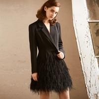 2017 New Winter Women Dress Long Sleeve V Neck Dress Evening Party Black Feather Jacket Stylish