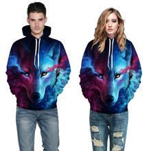 2017 Stars 3D Printed hooded baseball suit head sweater Unisex Couples Lovers 3D Sky Wolf Print Loose Hoodies Blouse Tops Shirt#