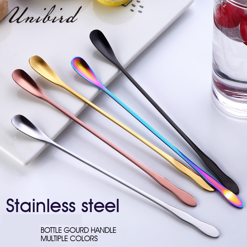 Unibird Coroful Swizzle Stick Cocktail Stirring Spoon Mixing Coffee Spoon With Long Handle Vintage Stirring Tea Spoon Bar Tool
