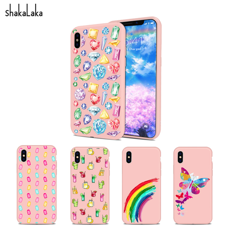 Phone Cover for iPhone5 5s SE 6 6s 7 8 Plus X Soft Pink Blingbling jewelry Silicone TPU  ...