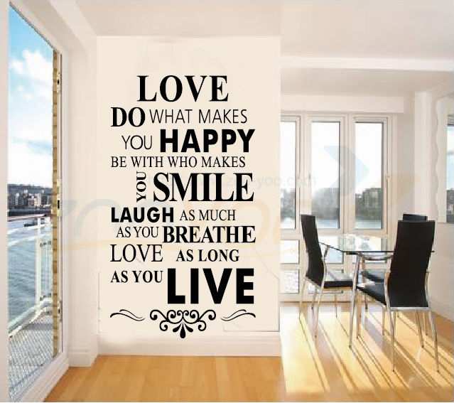 Love Happy Smile Laugh Live Quotes Wall Stickers Home Decor Living Room Family Decoration Vinyl Wall Decals Diy Wallpaper Art