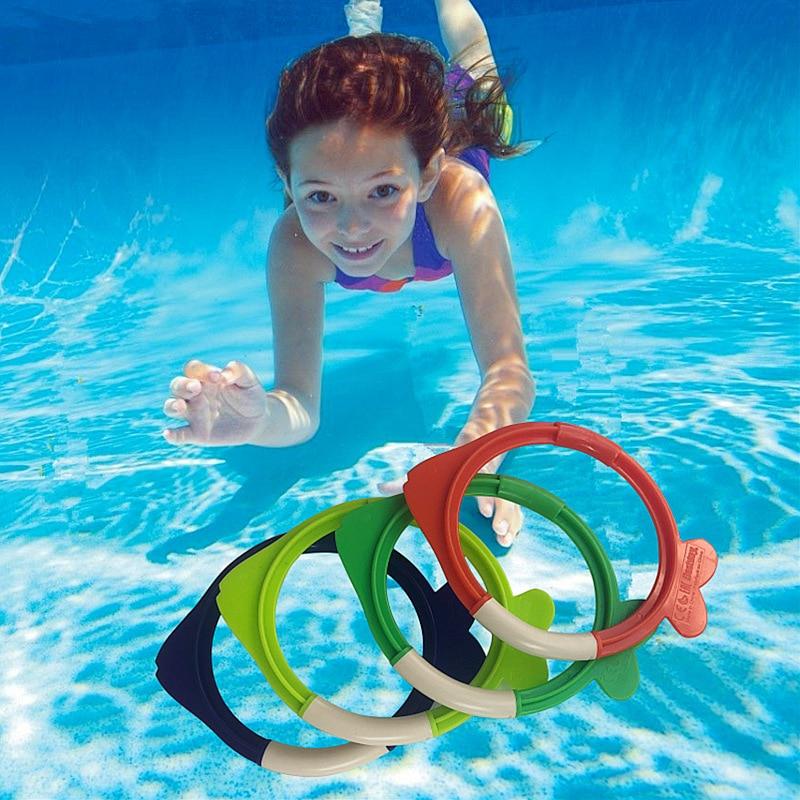 Child Swimming Practise Diving Training Rings Fish Shape Swimming Pool Water Toys 4pc/set