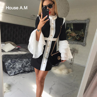 Mini Dresses Black white Patchwork Ruffle Gold Button Empire Stand Neck Wedding Party Bodycon A line Office Lady Short Dress