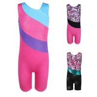 Girls Gymnastic Leotards Kids Ribbon Sleeveless 3 10Y Dance Leotards For Kid Girls Training Biketard Dancewear