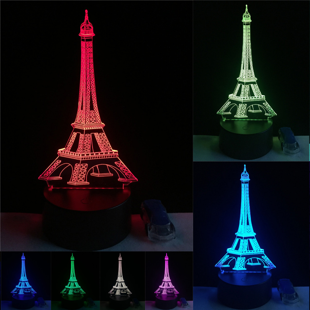 3d fashion romantic france eiffel tower led night light rgb changeable mood lamp bedroom table. Black Bedroom Furniture Sets. Home Design Ideas