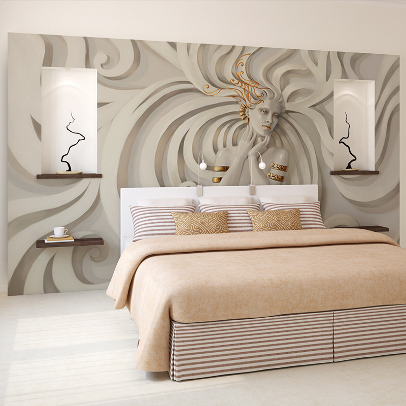 Custom relief sculpture beautiful woman photo wall paper for Art mural wallpaper