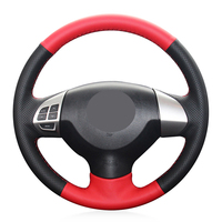 Hand stitched Black Red Leather Suede Anti slip Car Steering Wheel Cover for Mitsubishi Lancer X 10 2007 2015 Outlander 2006