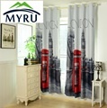 1.4x2.6m 3D british curtains cheap bedroom curtains UK london blackout curtains free shipping