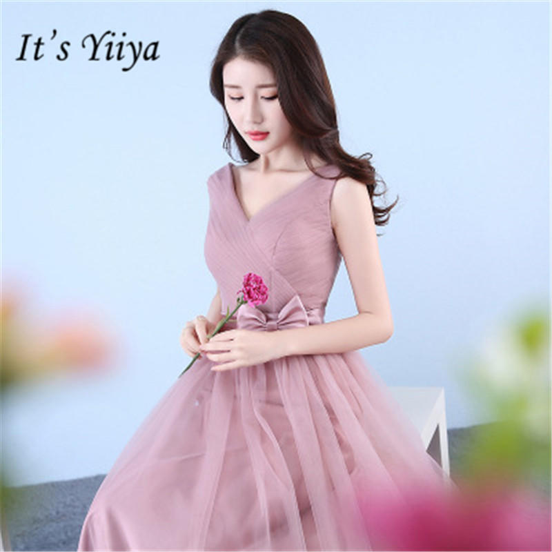 It's YiiYa Sleeveless Pure Color Bridesmaid Dresses Elegant V-neck Slim A-line Floor-length Dress B020