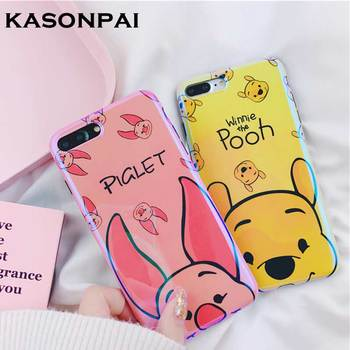 KASONPAI Cartoon Cute Pooh Pig Case For iphone 6 6S 7 8 Plus Soft silicone Back Cover For iphone 7 plus Laser Blu-Ray Phone Case winnie the pooh iphone case