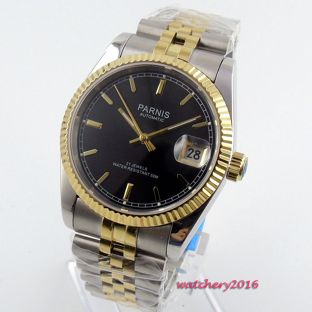 36mm parnis Black Dial Luminous Marks Complete Calendar Sapphire Crystal 21 jewels MIYOTA Automatic Mechanical women's watch romantic sweet gifts 43mm parnis white dial luminous marks sapphire crystal 21 jewels miyota automatic mechanical men s watch