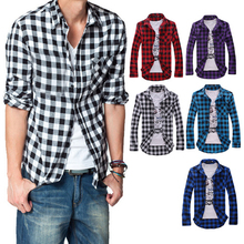 Hot Men's Cotton Turn-down Collar Plaid Double Beasted Full Sleeves Casual Shirt 7GJR