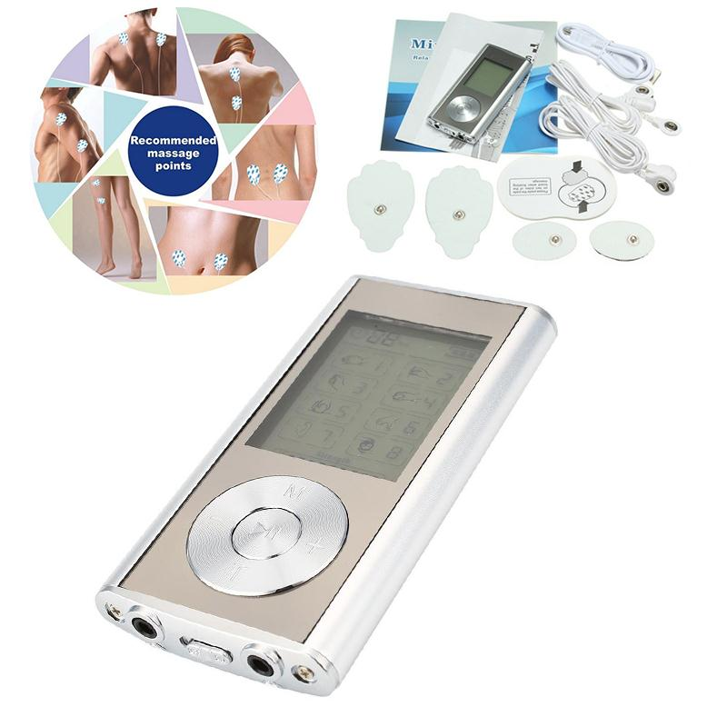 Mini Dual LCD Digital Therapy Tens Muscle MP3 Stimulator Massager US Plug