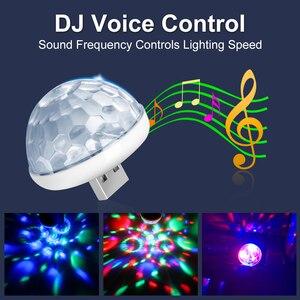 Image 2 - سيارة مصابيح داخلية مصباح للزينة Led صغيرة RGB الملونة مصباح لتهيئة الجو السيارات USB DJ ديسكو المرحلة تأثير أضواء السيارة التصميم