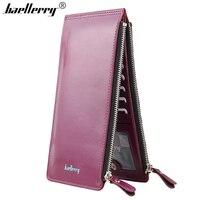 Baellerry Fashion Oil Wax PU Leather Credit Card Wallet Women Long Card Holder Zipper Money Bag