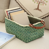 Creative Woven Rattan Storage Basket Multi Function Home Living Room Outdoor Camping Snacks Debris Fabric Toy Storage Boxes
