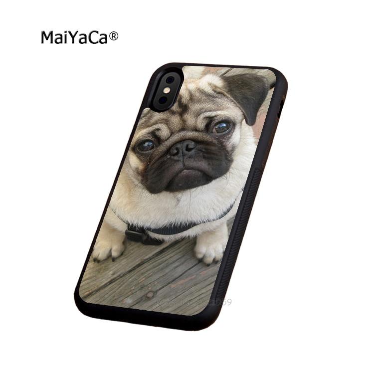 pug dog animale soft edge case for iphone x 5c 5s se 6 6s 6plus 6splus 7 7plus 8 8plus black silicone cover case