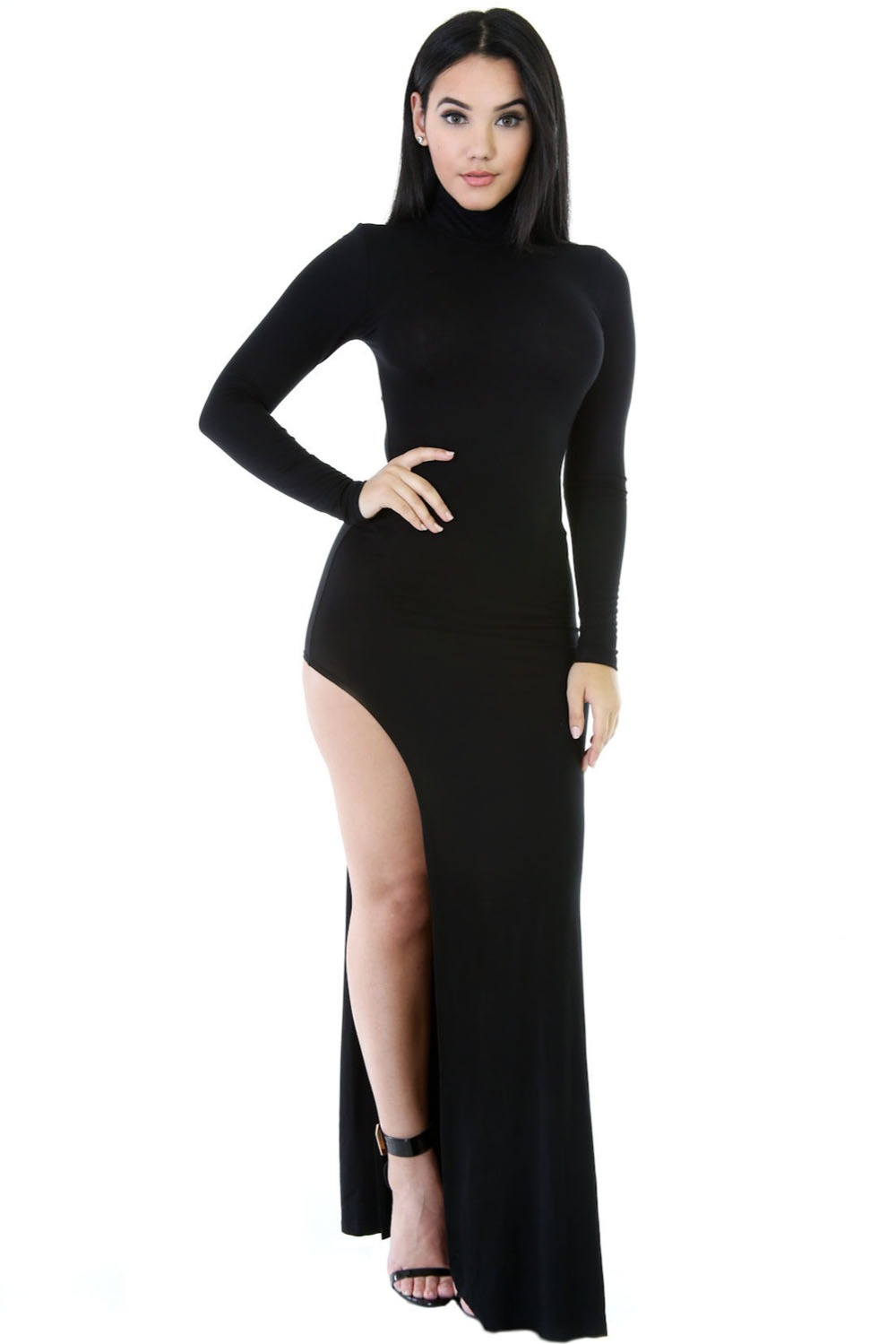 Black black t shirt maxi dress - Autumn Turtleneck Side Split Jersey Maxi Dress Women Asymmetrical Black White Long Sleeve Bodyon Party Dresses